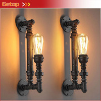 Wholesale-1pcs Industrial Steampunk rústica del tubo del metal de la vendimia Edison Bombilla Lámparas de pared Balcón Barra de luz con lámpara E27 Rust Pipe aplique de la pared