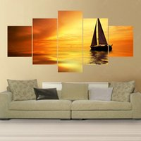 Wholesale Oil Paint Sailboat - 5 Panel Modern Cuadros Decoracion (No Frame) Sailboat Canvas Oil Painting Art Cuadros Decoracion Wall Pictures For Living Room