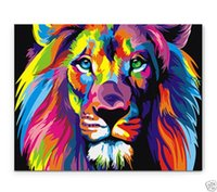 Wholesale Oil Painting Colours - Framed Bright-coloured lion,Pure Hand Painted modern Wall Decor Art Oil Painting On High Quality Canvas,Multi Sizes Available moore20