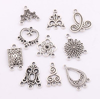 Wholesale Diy Earring Connectors - 80pcs lot Charms Pendants Earrings Connectors 10styles Tibetan Silver Connector For Jewelry Craft DIY LM1 Jewelry Findings & Components
