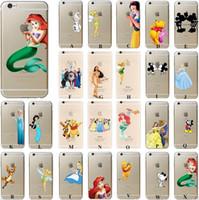 Wholesale Snow White Mermaid - For iphone 5s SE 6 6S 7 PLUS Princess Snow White Frozen Elsa Little Mermaid Ariel Mickey Winnie Tigge Hard Matte Clear case cover