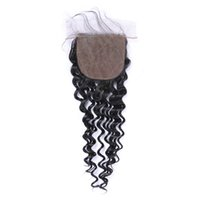 Wholesale Luxury Malaysian Deep Curly Hair - Luxury 8A Brazilian Indian Malaysian Peruvian Deep Curly Hair 4x4 Lace Closure Natural Color Dyeable No Shedding Soft Free Shipping Fee DHL