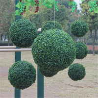 Wholesale Plastic Topiary - Wholesale-1pcs Modern Plastic Topiary Artificial Leaf Effect Ball boxwood grass Ball indoor outdoor Hanging decoration