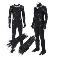 captain america preto traje venda por atacado-Original Capitão América 3 Guerra Civile Black Panther T'Challa Traje Cosplay Personalizar Inimigo Halloween Preto Outfit