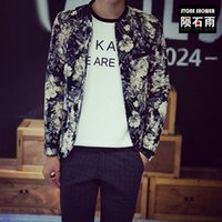 Wholesale Korean Clothes Fashion Free Shipping - Fall-Men's brand clothing korean flower print fashion cotton baseball bomber jacket free shipping