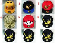 Wholesale Cartoons Snap Caps - 6 Colors Poke Go Pikachu Baseball Caps Snap backs hats Cartoon embroidery canvas Hip Hop Pocket Animal Monster Cosplay Costume