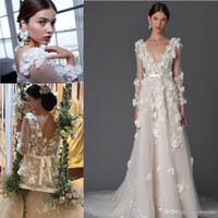 Wholesale Red Marchesa Dress - Marchesa 2017 Modern 3D Floral Wedding Dresses with Long Sleeves Cute Handmade Flower V-neck Backless Princess Garden Bridal Wedding Gowns