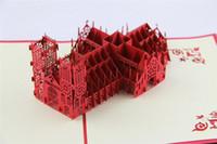 origami 3d pop up hediye toptan satış-Moda 3d kartları yeni gelmesi Excusive Westminster Katedrali Ev Yapımı Yaratıcı Kirigami Origami 3D Pop UP Davetiyeleri Hediye Kartları D068