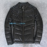 Wholesale Cheap Leather Jackets Free Shipping - Fall-Factory Price High Quality Hot Cheap Genuine Leather Jacket Men Natural Sheepskin Leather Thick Down Coat Winter Free Shipping