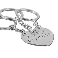 Wholesale Heart Shape Key Pendant - 2016 New Hot Sell Best Friends Best Bitches Pendants Gold and Silver Keychain Girlfriends Splicing Heart-shaped Key Ring Friendship Gifts