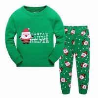Wholesale Girl Santa Suit - New Christmas Xmas Boy girl Santa Claus Pajamas 2016 new Cotton cartoon long Sleeve Pants Suit Children Pajamas free shipping in stock