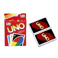Wholesale English Manual - UNO Card Standard Edition UNO Playing Cards 5.6*8.8CM Family Fun Playing Cards Gift Box English Manual Christmas Gift 2507017