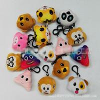 peluş dolma maymunlar toptan satış-5.5 cm Emoji İfade Peluş Bebek Anahtarlık EMS 10 tarzı QQ İfade Dolması maymun hayvan anahtarlık Peluş Bebek Oyuncakları B