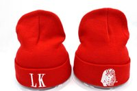 Wholesale Lk Beanies - Yjyb2b Men's Red Color Last Kings Knit Beanies Without Pom Women's Winter Knitted Beanie Hats Hip Hop Brand LK Fashion Casual Skull Caps