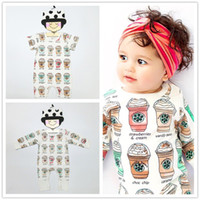 Wholesale Halloween Toddler Outfits - Toddler Infant Baby Rompers Ice Cream Bottle Jumpsuits Newborn Boys Girls Bodysuits Outfits One Piece Cartoon Kids Clothes Short Long Sleeve