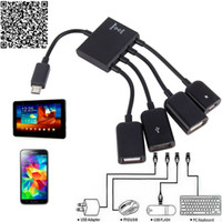 Wholesale High Quality Otg Cable - Free Ship OTG Hub Cable Connector Spliter 4 Port Micro USB Power Charging Charger For Smartphone Computer Tablet PC High Quality
