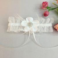Wholesale Shabby Flower Crystal - Wedding Garter Set Crystal Pearl IVORY Shabby Flower Wedding Garter Set The Bride Wedding Accessories The Garter Wedding Garters Silk Garter