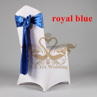 Wholesale Spandex Chair Ties - Spandex Chair Cover \ Lycra Chair Cover With Royal Blue Satin Tie \ Chair Sash