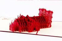 дизайн для визитных карточек оптовых-Lastest дизайн 50 шт. / лот 3D ручной работы поздравительные открытки Вестминстер церковь здание визитные карточки Красный Бесплатная доставка