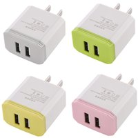 Wholesale colorful adaptor - Colorful Dual usb ports V A US Ac home travel wall charger power adaptor for iphone Samsung galaxy android phone mp3