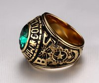 Wholesale Men Stainless Steel Carved Rings - Stainless Steel Men Punk Rings Vintage Jewelry Carved Geometric Hipsters Green Rhinestones High Polished Accessories Gold Size 8-11