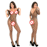 bodysuit für frauen lange ärmel großhandel-Strumpfhosen Mujer Sexy Frau Netz Zaun Jambo Net Diamant Mesh Langarm Bodystocking Strümpfe
