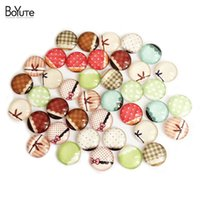 Wholesale Cabochon Images 14mm - BoYuTe 35-40Pcs 14mm Bow Cabochon Mix Solid Color Deer Lace Lip Eyeball Image Cabochon Jewelry Findings XL5468