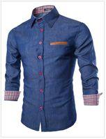 camisa manga manga pu venda por atacado-Azul Denim Shirt Men remendo da manta de pano PU Projeto do bolso Breasted Única manga comprida Casual Mens Fashion Shirt frete grátis