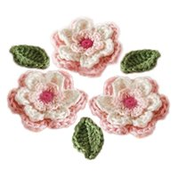Wholesale Yarn Dolls - 6-Petal 3-Layer Handmade CROCHET FLOWER & LEAF Cotton Yarn sewing craft pink white green for decorating dresses doll toy pet dresses