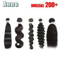 Wholesale Brazilian Pc Deep Wave - 7A Virgin Hair Body Wave Straight Loose Deep Curly 100g pc Unprocessed Human Hair Weaves Bundles Body Wave Hair Queen Love