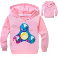 Wholesale Cool Jackets For Girls - NEW Children Boys And Girls Pullover Hoodie Spring Autumn Blue Red Cool Sweatshirt Funny Fidget Spinner Pattern For Kids 3-10T
