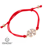 Wholesale Gold Crystal Snowflake Charm - 24pc Adjustable jewelry for women snowflake charm bracelets Red String gold plated Rhinestone snow shaped bangle