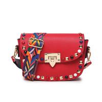 Wholesale Womens Crossbody Leather Bags - 2017 Women Crossbody Bag For Women PU Leather Rivet Stud Handbag Shoulder Messenger Bags Womens Handbags And Purses