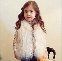 Wholesale Blue Cashmere Coat - Cute Girls Waistcoat Fur Vest Warm Vests Sleeveless Coat Children Cheap Outwear Winter Coat Baby Clothes Kids Clothing Girl Waistcoat MC0307