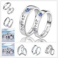 925 Silver Open Size Heart para sempre Anéis de amor Crystal Zircon Rings For Lovers Couple Rings Wholesal
