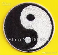 Wholesale Shirt Fabrics Wholesale - Fabric Yin Yang tao mystical Embroidery Patches Sew or Iron On Cloth Shirt Hat Jean shoes