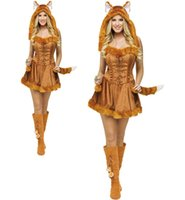Wholesale Womens Animal Halloween Costumes - New Adult Womens Sexy Cute Animal Themed Halloween Party Fox Costumes Outfit Fancy Animal Fox Cosplay Dress With Hat