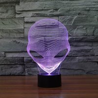 Wholesale Unique Night - Unique 3D Night Light Special Alien Shape LED Table Lamp With USB Power HR-3048 With 7 Color Light
