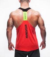 Wholesale Racer Back Sport - Hot sale Men Singlets Stringer Y BACK Racer Tank Tops Bodybuilding Tank Vest Fitness Gold's Gym Muscle Sport Shirts Gym Clothes hight qualit