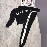 Wholesale Winter Yoga Pants - Brand Designer Women Two Piece Tracksuits 2017 Autumn Winter Letter Print Sweatshirts Long Pants Running Sports Sets Casual Pullover Hoodies