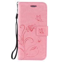 Wholesale case iphone 5c card for sale - Embossed Flower butterfly Leather Wallet Case for Iphone c Plus Samsung S6 S7 A710 edge LG Stand Holder kickstand Hand Strap
