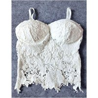 Wholesale Corset Padded White - Wholesale-SL23 Sexy Women Lace Crochet Floral Knitted Padded Bustier Crop Corset Tank Tops Bras Camisole Black White Free Shipping