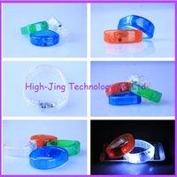 Wholesale Colorful Blinking Led - LED Colorful Flashing Bracelet Light Blinking Crystal Voice Control LED Bracelets party and gifts sound activated led wristband