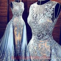 Wholesale Transparent Mermaid Prom Dress Lace Jewels - Real Images Light Blue Elie Saab 2017 Evening dresses Detachable Train Transparent Formal Dresses Party Pageant Gowns Celebrity Prom Long