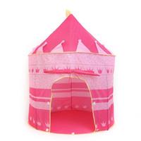 rosa zelt kinder groihandel-ROSA / BLAU Ein schönes Cubby House tragbares faltbares faltbares Schloss-Kind-Kind-Baby-Spielzelt-Spaß-Spielhaus im Freien Innenzelt-Höhle-Prinz