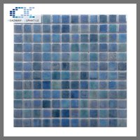 Wholesale Mosaic For Pool - spain recyle glazed square glass mosaic exterior wall tile for swimming pool