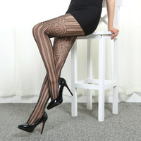 Wholesale Tattoo Nylon Leggings - 2016 Hollow Out Fishnet Tights New Fashion Sheer Lace Tight Sexy Black Stockings Long stripe Stocking Tattoo Design Pantyhose Leggings