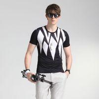 Wholesale Men Metrosexual - Stamp Man Short Sleeved T-shirt In Summer 2016 Men's Slim T-shirt T-shirt Bottoming Shirt Silk Metrosexual Short Sleeve T-shirt