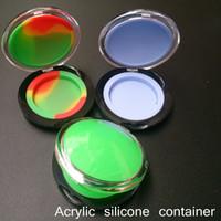 estuches de acrilico al por mayor-10 unids Acrílico contenedor de silicona 6 ml de concentrado de cera conforman caja de contenedores de silicona de calidad alimentaria ABS maquillaje estuche dabber tarros almacenamiento de herramientas