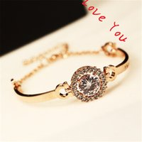 Wholesale Vintage Unique Bracelet - Unique Round Cubic Zirconia Charms Bracelets Bangles for Women Korean Vintage Rose Gold Plated Link & Chain Bracelets Jewelry